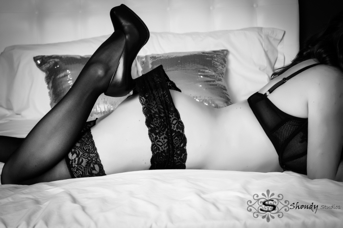 black and white of high heel shoes in panties